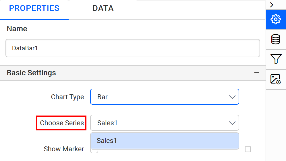Choosing a data series
