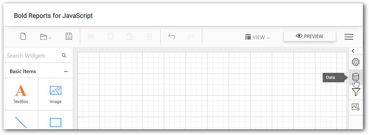 Report Designer data panel