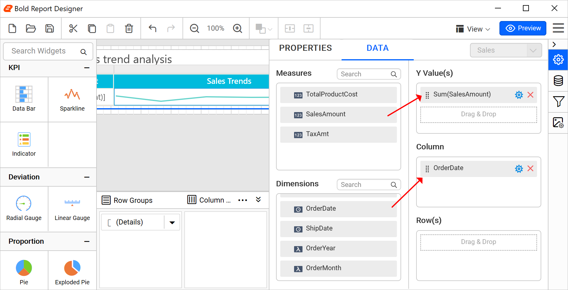 Configuring data in the sparkline