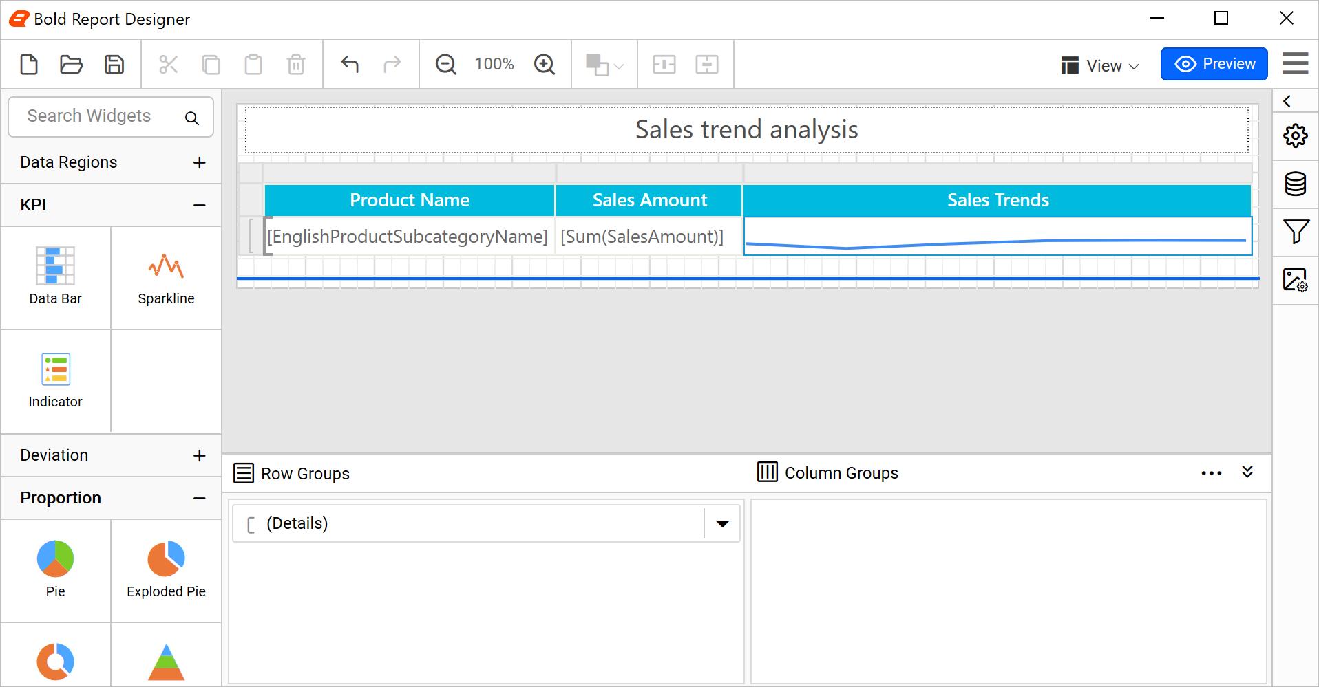 Sparkline configured with random data in design mode