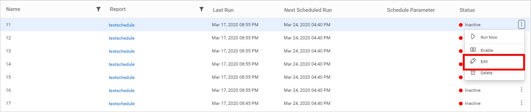 Edit schedule option.