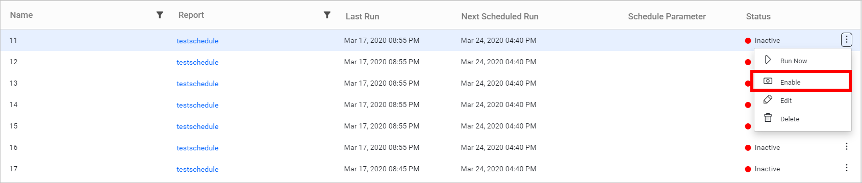 Enable schedule option.