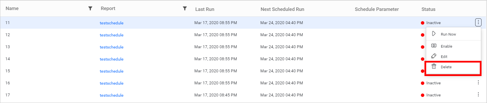 Delete Schedules.