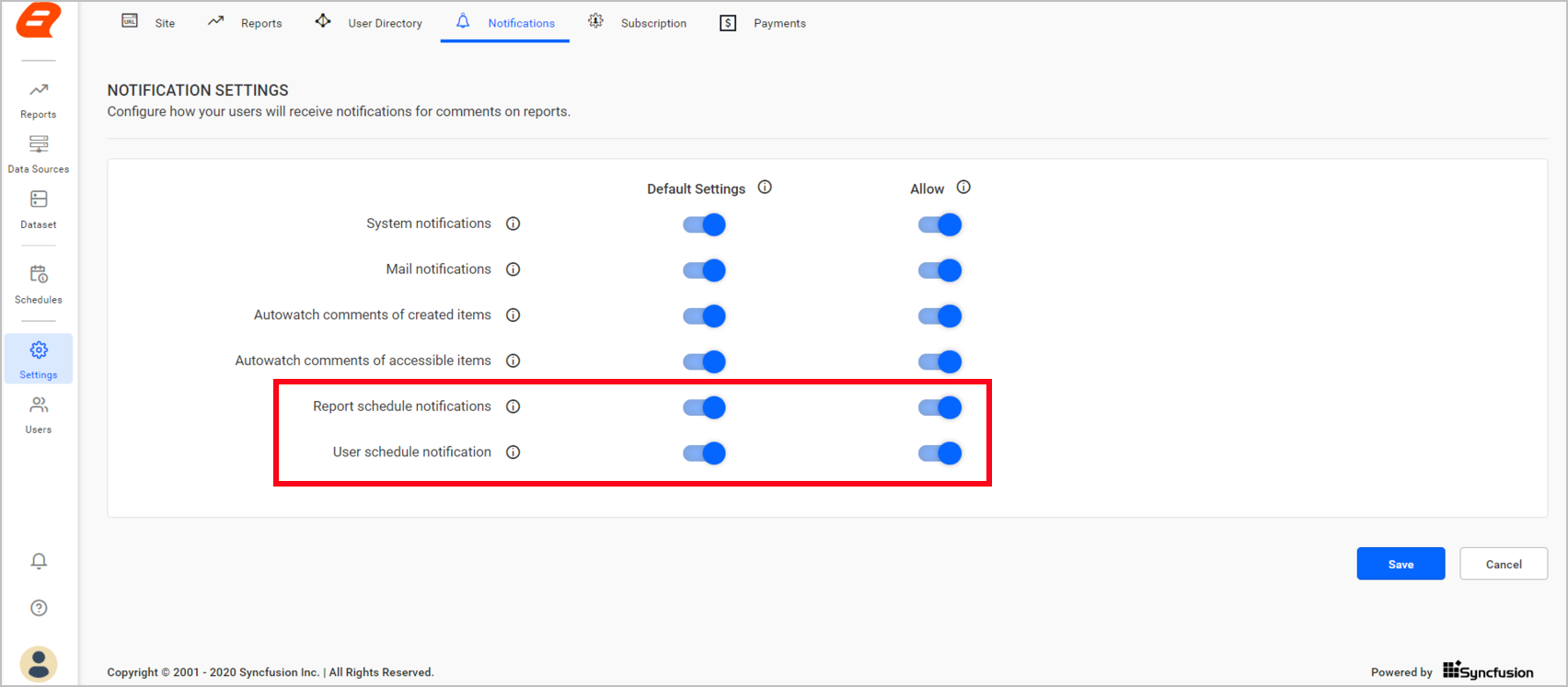 Turn notifications for scheduled email content on and off