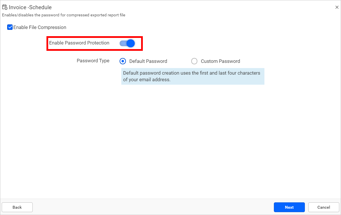 Enable password protection.