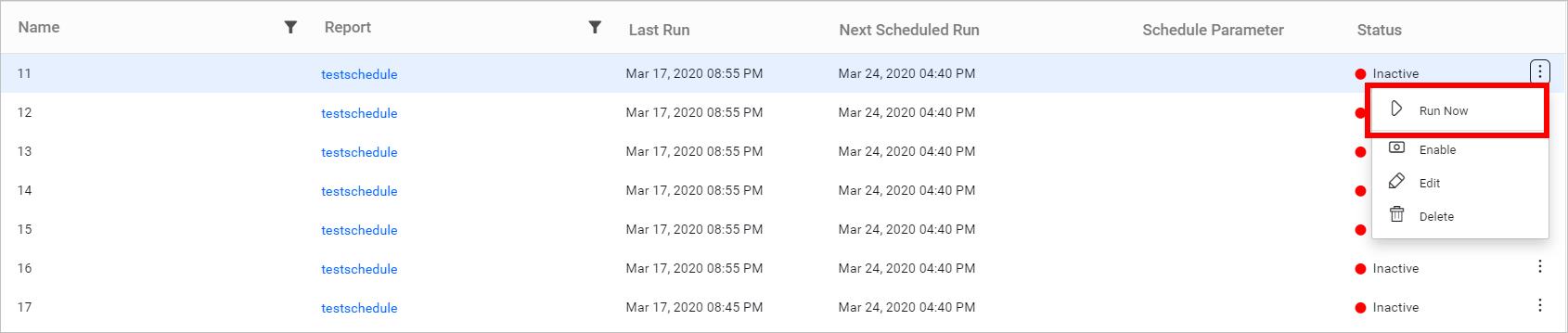 Run the schedule on demand.