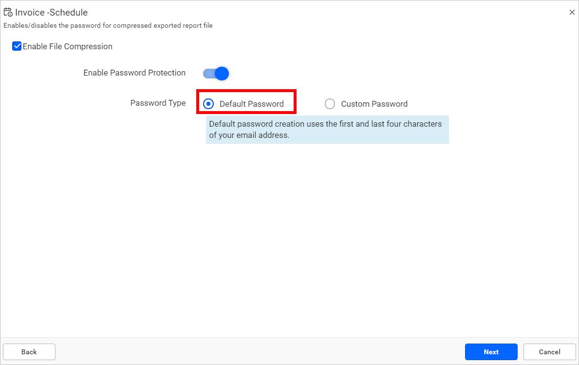 Report protection using default password.