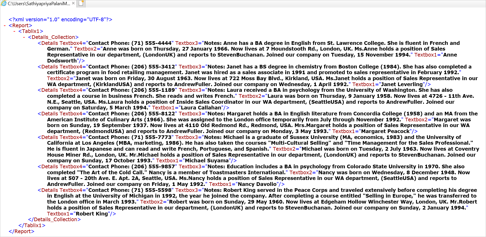 Exported XML document for the sample report above