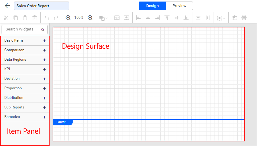 Report designer item panel and design surface