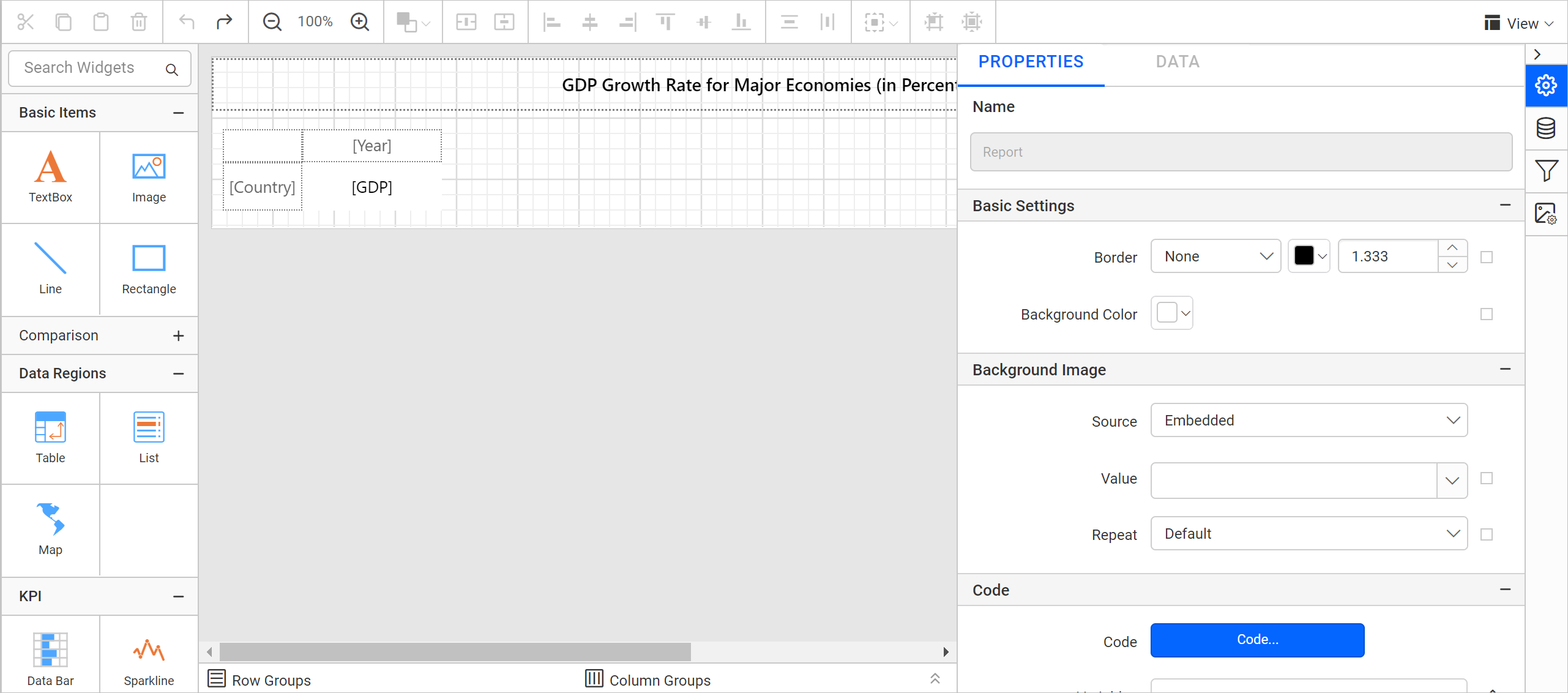 Report properties view
