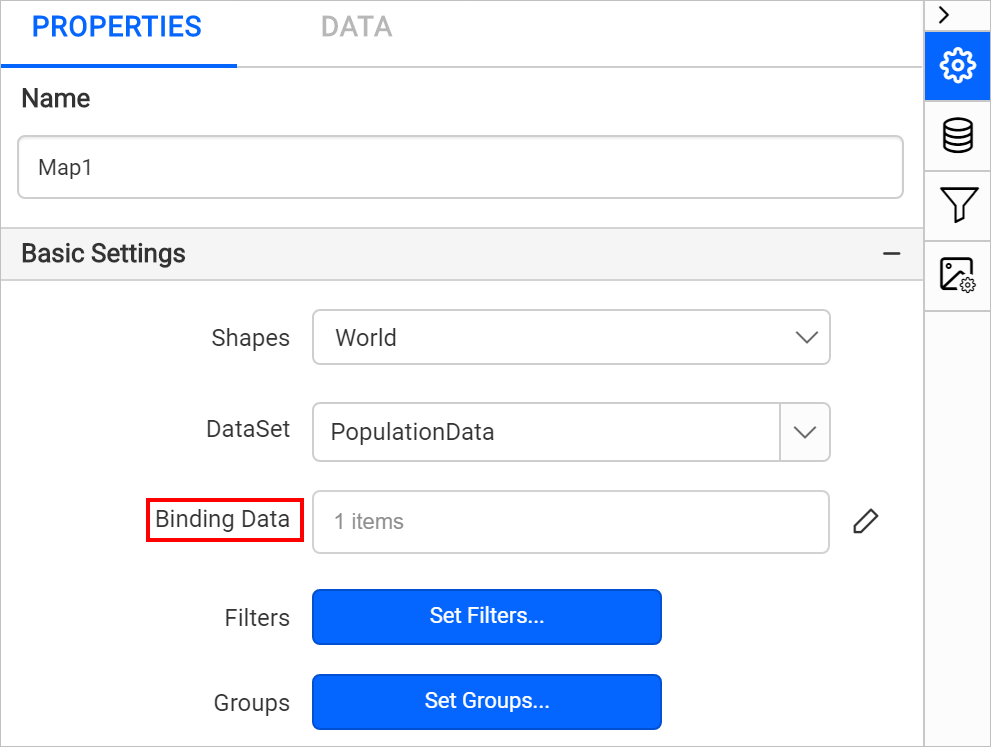 Binding data items count