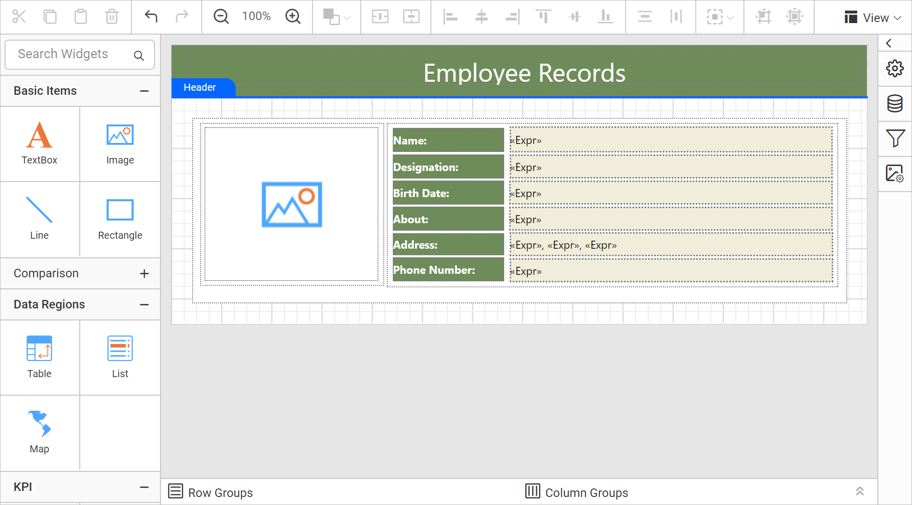 Design View: Employee Record in Mail Merge Format
