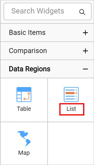 List report item in item panel