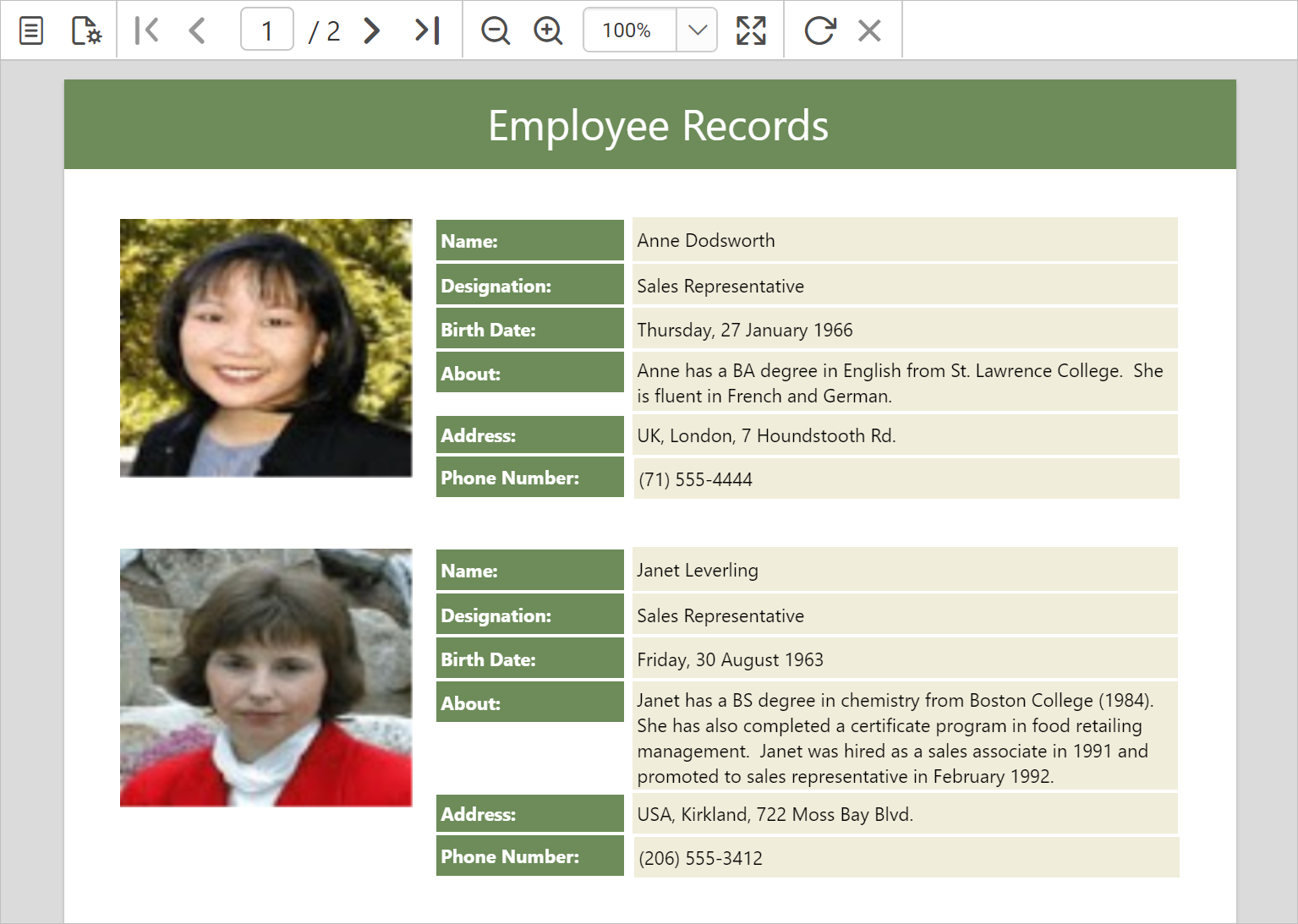 Preview: Employee Records in Mail-Merge Format