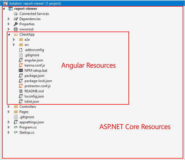 Project Structure of ASP.NET Core Angular project