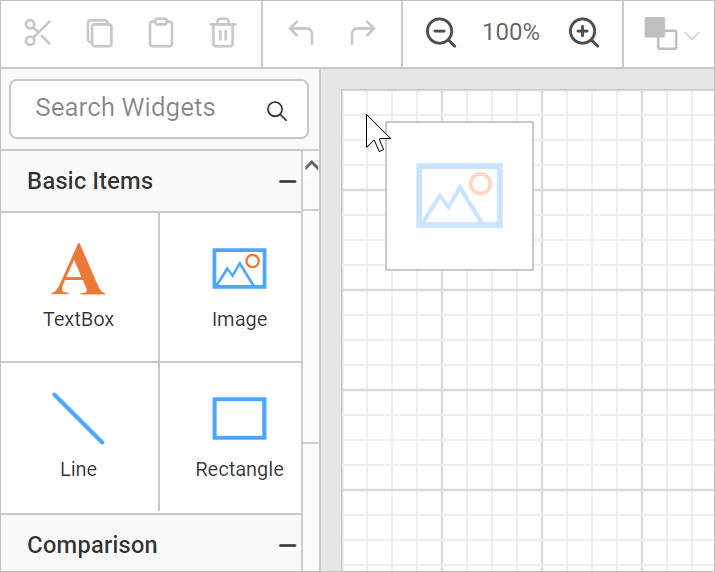 Drag and drop an image report item to design surface