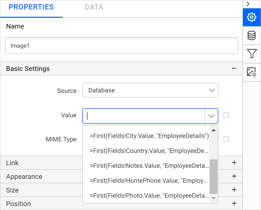 Set value from data set