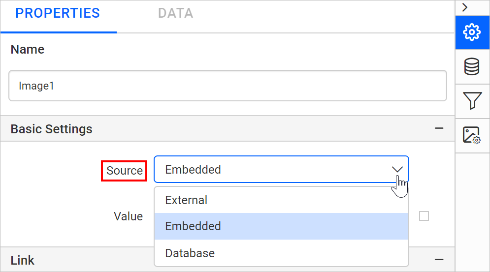 Set the source type as embedded