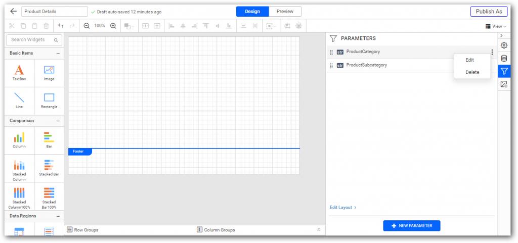 Edit report parameter
