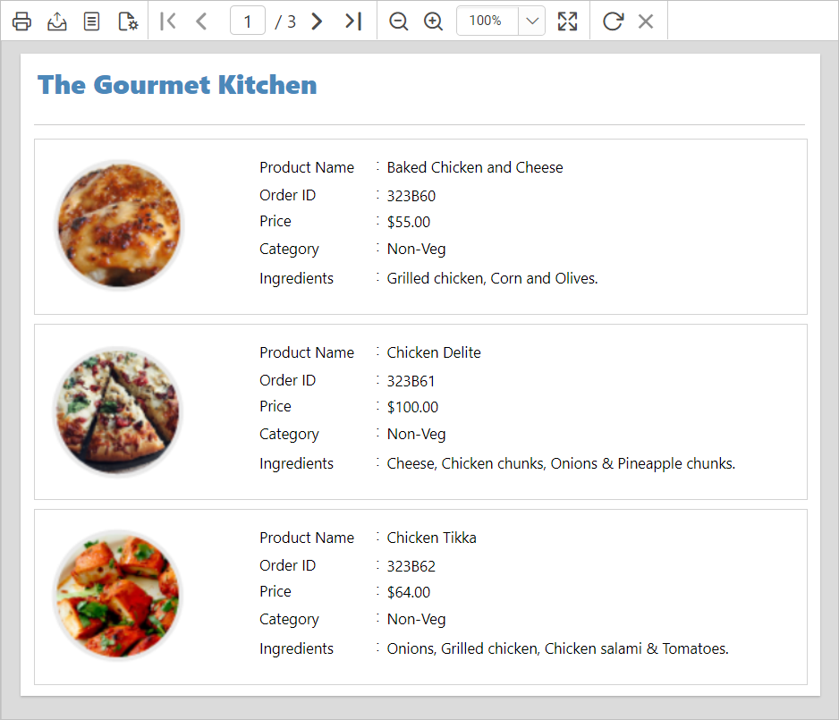Report preview of the list of dishes in the restaurant