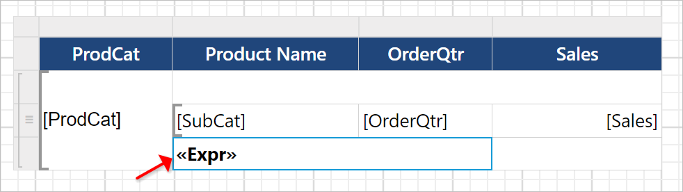 Set label for footer cell