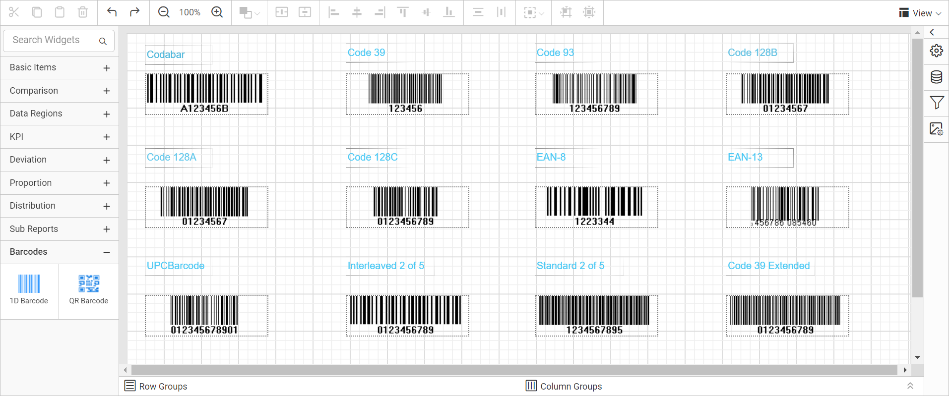 Types of 1-D barcode