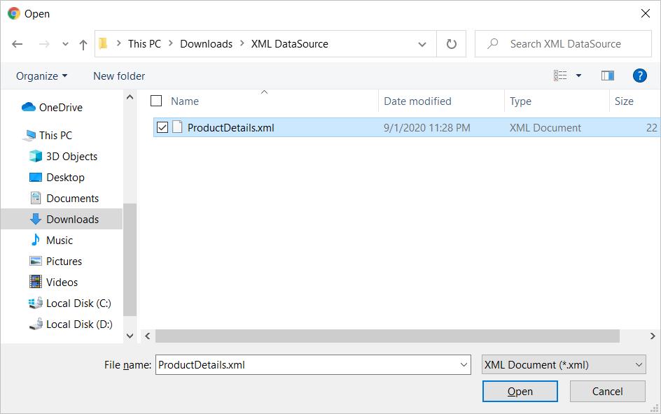 Choose XML file
