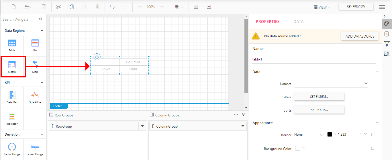 Adding a matrix widget to the design area in Report Designer