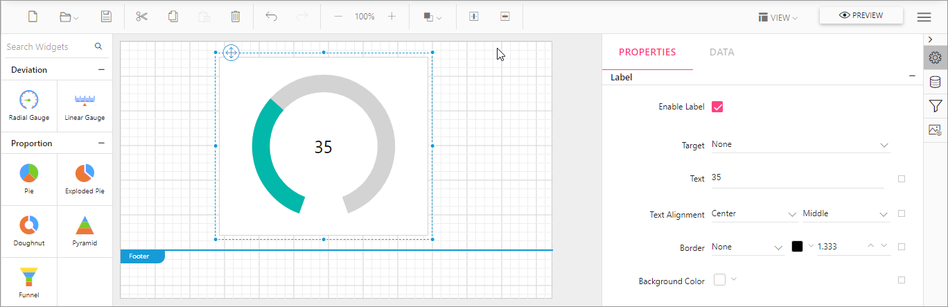 Adding a label to a gauge in Report Designer