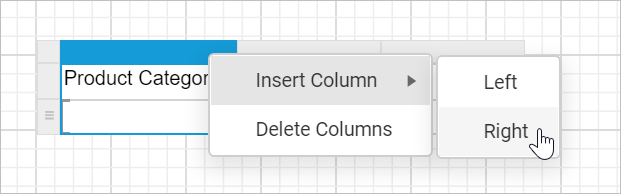 Insert new column in the table report item