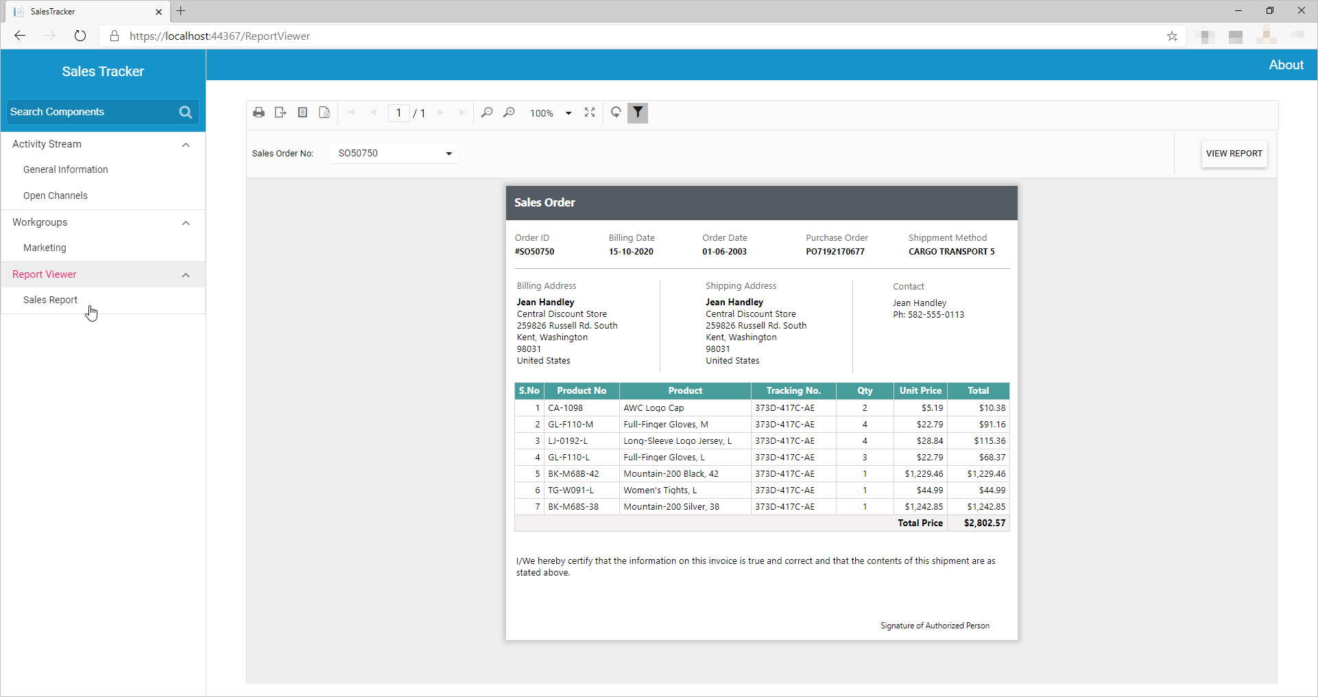 Sales Report rendered with Syncfusion Blazor Controls