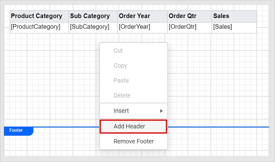 Add header to the rdlc report