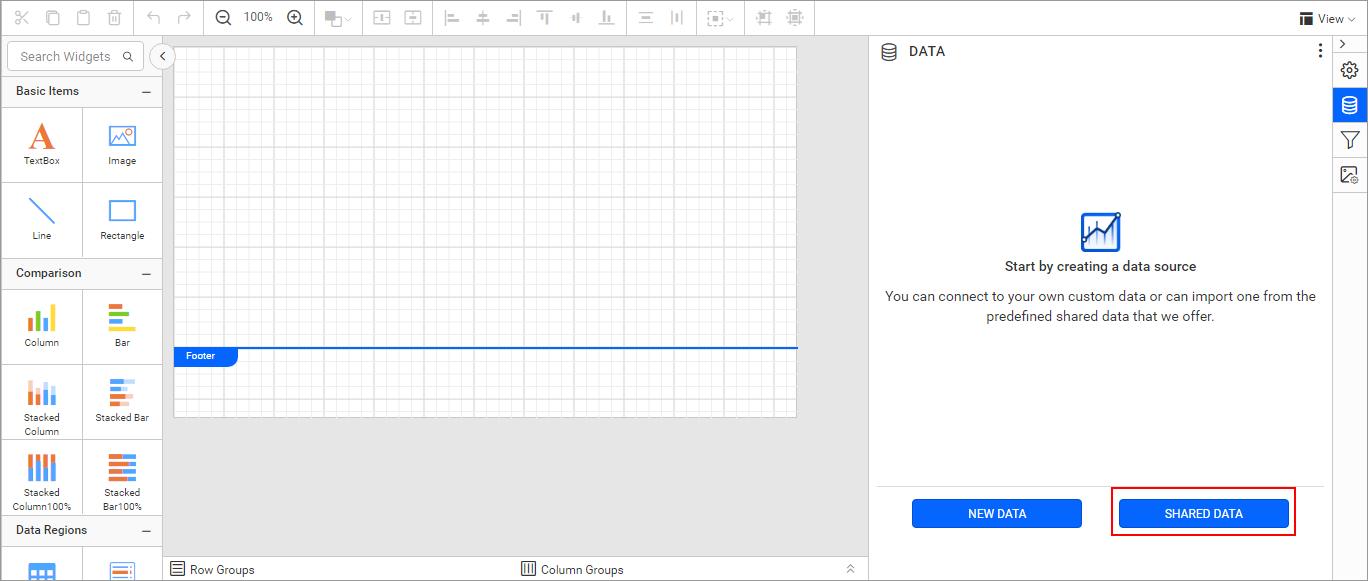 Shared Data Set for Report Designer