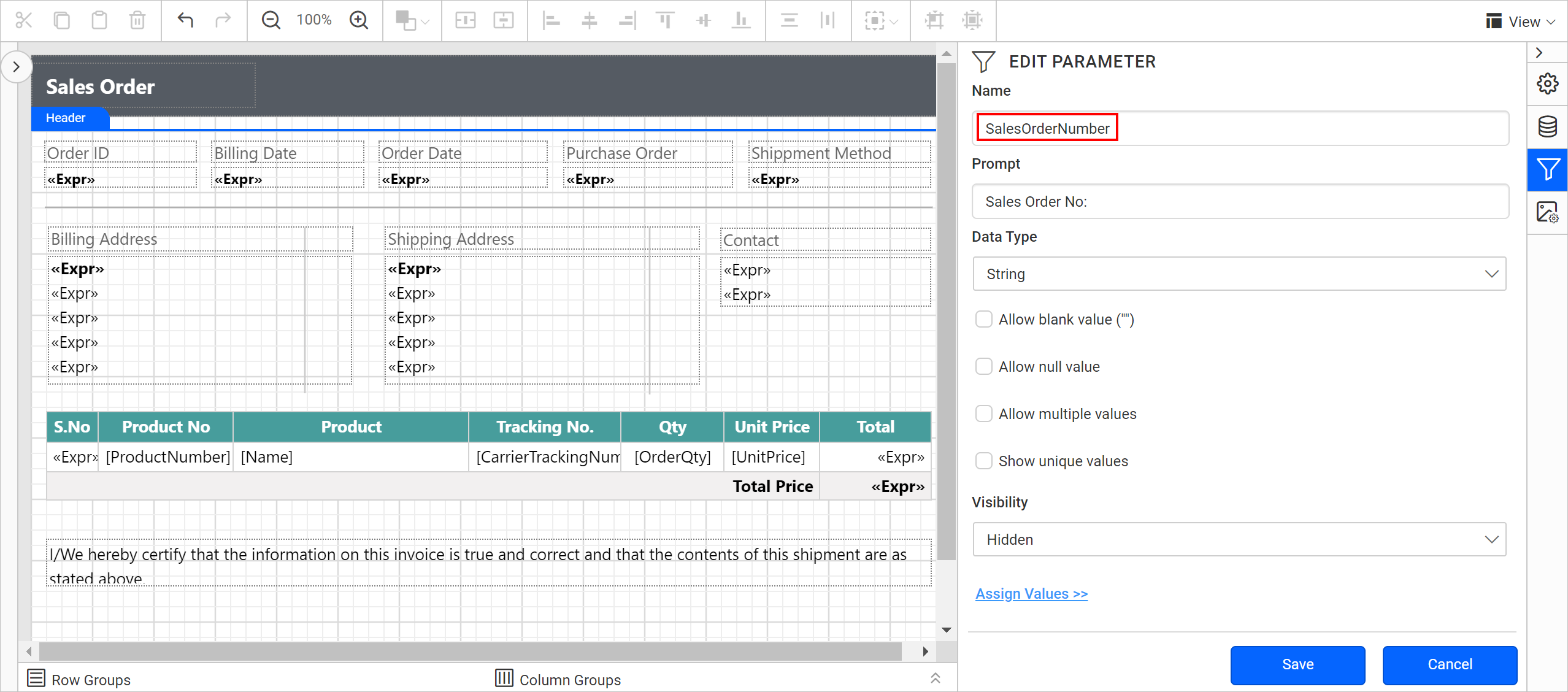 Sales order parameter