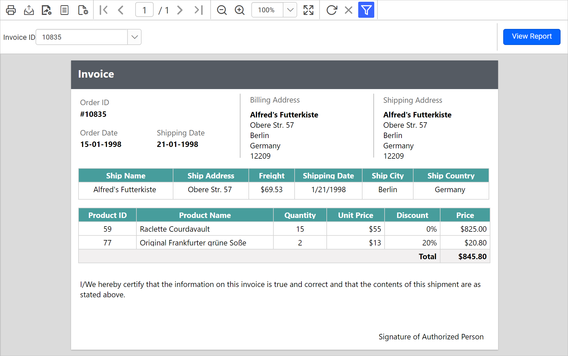Report displaying invoice details