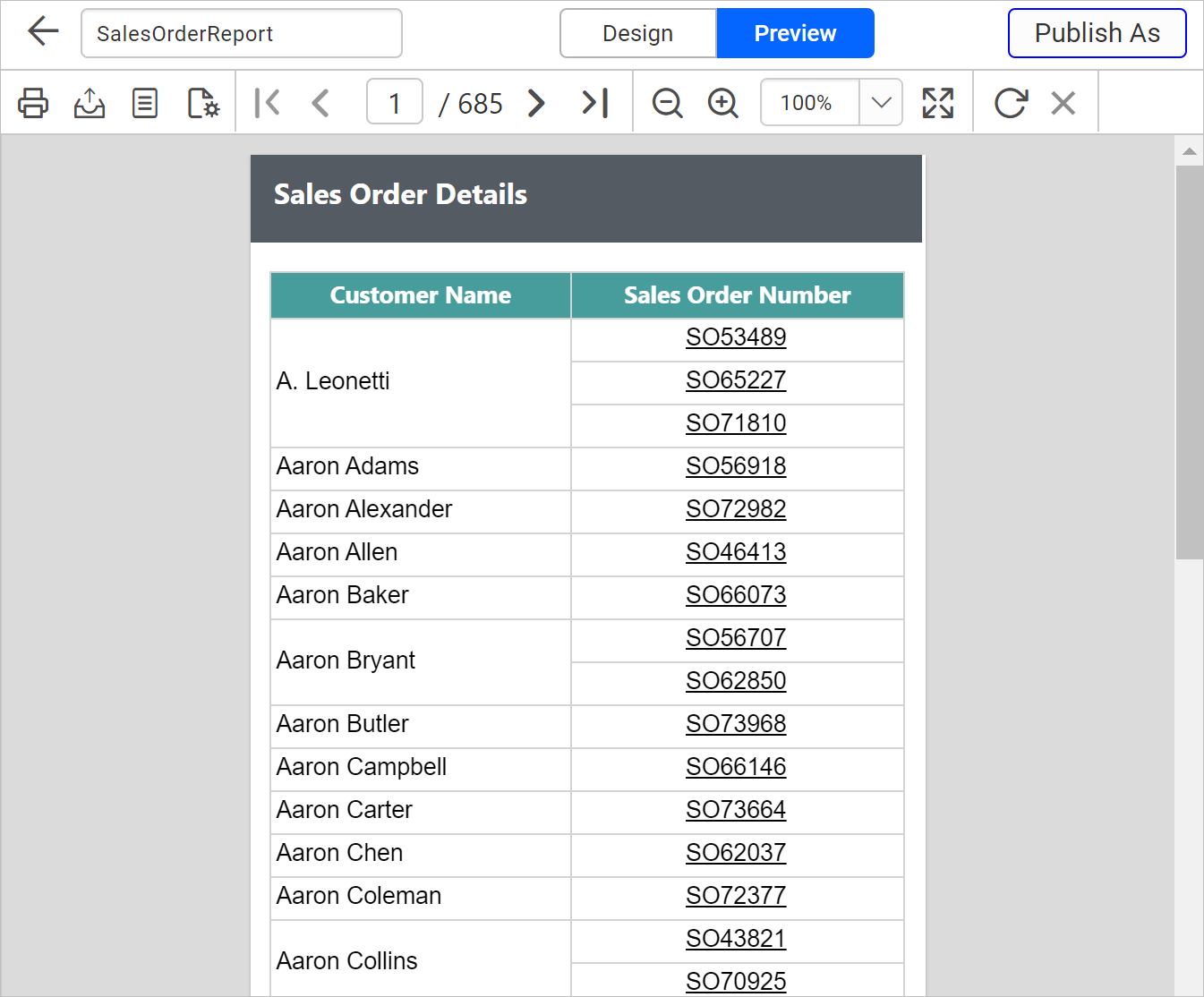Sales order report preview