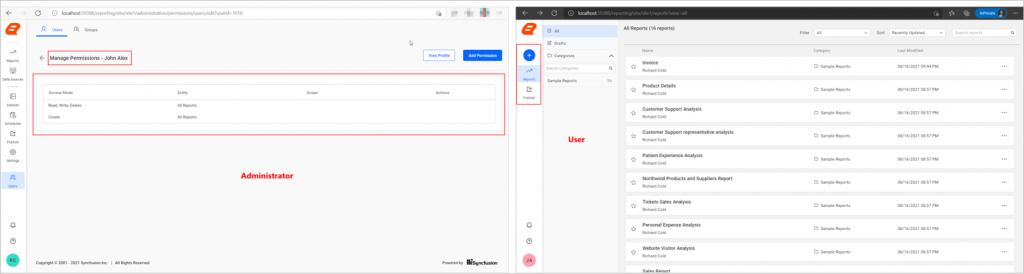 admin and user menu