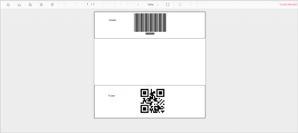 Barcode in header and footer